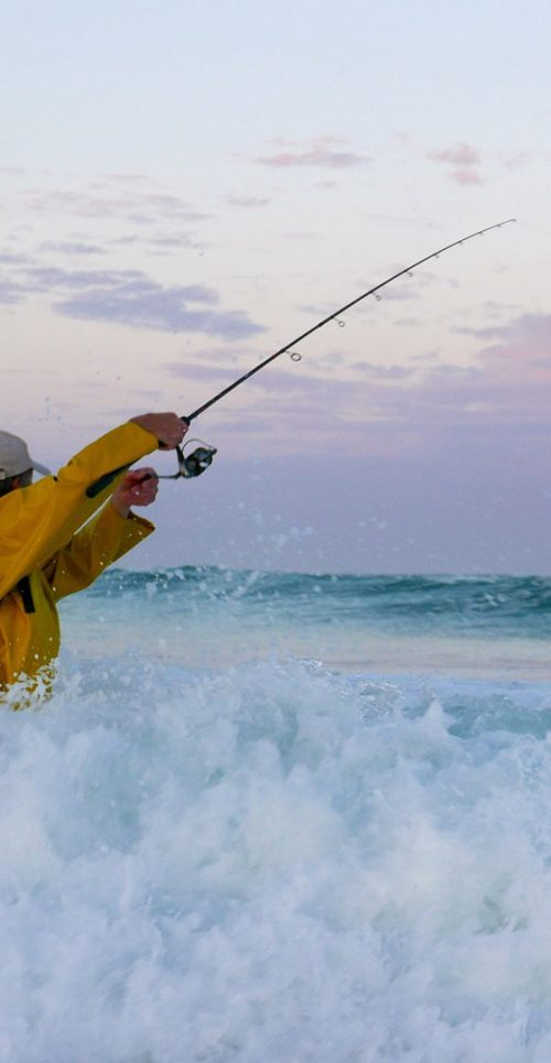 Surf Fishing Rod Casting from Beach